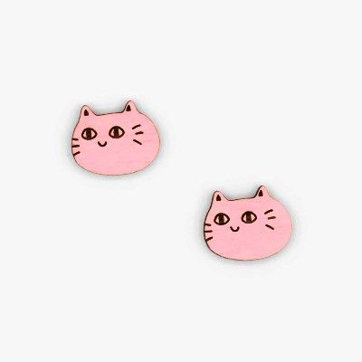 Cat Face Stud Earrings - Pink