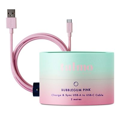 Charge and Sync 2m Cable USB-C to USB-A (for Android) - Bubblegum Pink