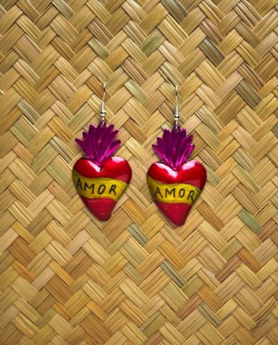 "Ex-voto heart earrings – ""Amor"""