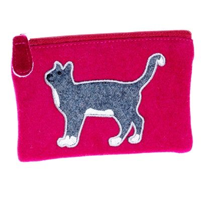 Felt Cat Purse - Plum
