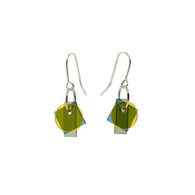 Layer earrings - small - yellow-blue