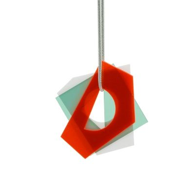 Layer pendant - small - fluo red-green