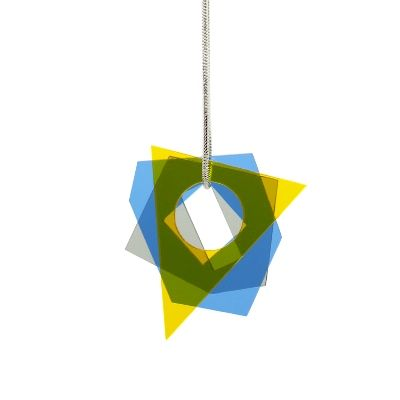 Layer pendant - small - yellow-blue