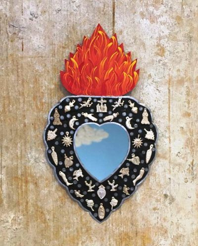 Milagros mirror heart – Black