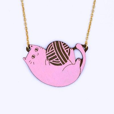 Playful Cat Necklace - Pink
